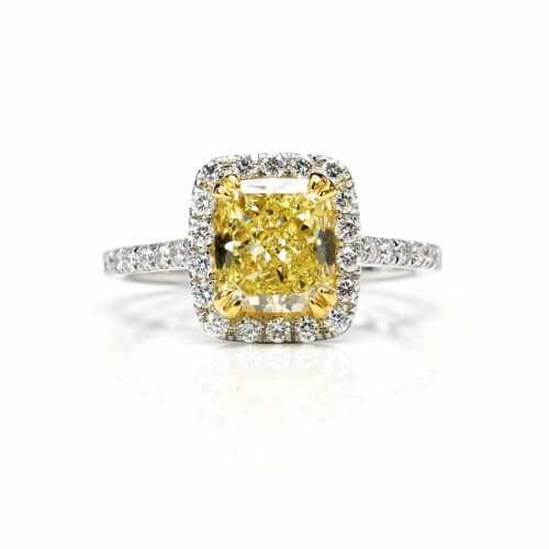 Cushion Cut Natural Yellow Diamond In Platinum And Diamond Setting